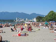 Kitsilano Beach with the West End in the distance